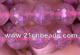 CBQ688 15.5 inches 8mm faceted round strawberry quartz gemstone beads