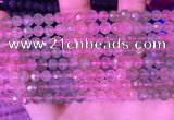 CBQ723 15.5 inches 6mm faceted round mixed strawberry quartz beads