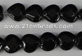 CBS303 15.5 inches 12*12mm faceted heart blackstone beads wholesale