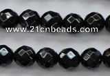 CBS504 15.5 inches 7mm faceted round A grade black spinel beads
