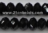 CBS516 15.5 inches 6*8mm faceted rondelle AA grade black spinel beads