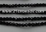 CBS520 15.5 inches 2mm faceted round A grade black spinel beads