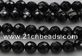 CBS522 15.5 inches 6mm faceted round A grade black spinel beads