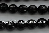 CBS523 15.5 inches 8mm faceted round A grade black spinel beads