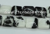 CBW133 15.5 inches 12*12mm square black & white jasper beads