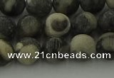 CBW163 15.5 inches 10mm round matte black fossil jasper beads
