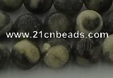 CBW164 15.5 inches 12mm round matte black fossil jasper beads
