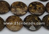 CBZ433 15.5 inches 20mm faceted coin bronzite gemstone beads