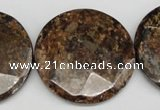 CBZ85 15.5 inches 32mm faceted coin bronzite gemstone beads