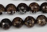 CBZ97 15.5 inches 14mm faceted round bronzite gemstone beads