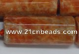 CCA472 15.5 inches 16*40mm faceted tube orange calcite gemstone beads