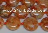 CCA475 15.5 inches 15mm flat round orange calcite gemstone beads