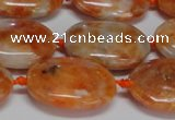 CCA483 15.5 inches 15*20mm oval orange calcite gemstone beads