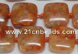 CCA492 15.5 inches 15mm square orange calcite gemstone beads