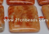 CCA496 15.5 inches 35mm square orange calcite gemstone beads