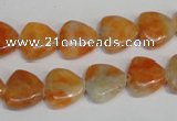 CCA69 15.5 inches 12*12mm triangle orange calcite gemstone beads