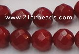 CCB124 15.5 inches 8mm faceted round red coral beads wholesale
