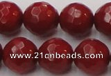 CCB125 15.5 inches 10mm faceted round red coral beads wholesale