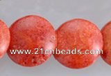 CCB20 15.5 inches 15mm flat round sponge coral beads Wholesale