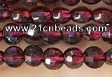 CCB538 15.5 inches 4mm faceted coin red garnet beads wholesale