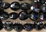 CCB549 15.5 inches 4mm faceted coin black tourmaline beads