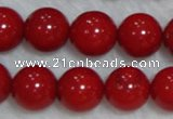 CCB57 15.5 inches 11-12mm round red coral beads Wholesale