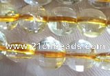 CCB610 15.5 inches 6mm faceted coin golden rutilated quartz beads