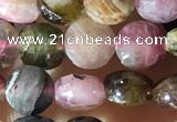 CCB618 15.5 inches 6mm faceted coin tourmaline gemstone beads