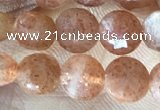 CCB628 15.5 inches 6mm faceted coin natural sunstone gemstone beads