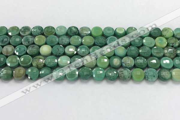 CCB709 15.5 inches 6mm faceted coin grass agate gemstone beads