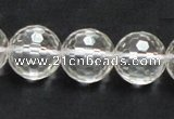 CCC212 15.5 inches 16mm faceted round grade AB natural white crystal beads