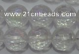 CCC412 15.5 inches 8mm faceted round AB-color white crystal beads