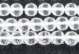 CCC611 15.5 inches 6mm faceted round matte natural white crystal beads