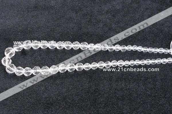 CCC618 15.5 inches 6mm - 12mm faceted round natural white crystal beads