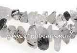CCH08 35 inches black & white quartz rutilated chips beads