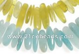 CCH22 16 inches Korea jade & amazonite chips gemstone beads