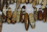 CCH345 15.5 inches 5*20mm picture jasper chips beads wholesale