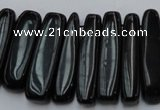 CCH409 15.5 inches 6*25mm - 7*35mm black agate chips beads