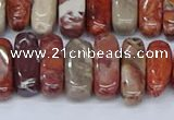 CCH715 15.5 inches 5*10mm - 5*15mm red porcelain chips beads