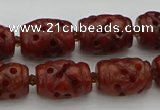 CCJ325 15.5 inches 12*16mm - 13*18mm carved drum China jade beads