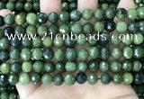 CCJ338 15.5 inches 8mm faceted round China green jade beads
