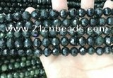 CCJ343 15.5 inches 6mm faceted round dark green jade beads