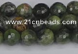 CCJ422 15.5 inches 8mm faceted round dendritic green jade beads