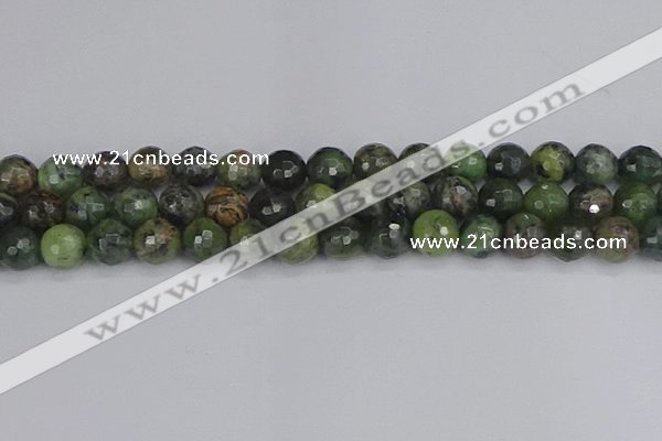 CCJ424 15.5 inches 12mm faceted round dendritic green jade beads