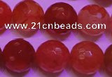 CCL54 15 inches 10mm faceted round carnelian gemstone beads