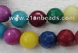 CCN1005 15.5 inches 12mm faceted round multi colored candy jade beads