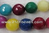 CCN1008 15.5 inches 18mm faceted round multi colored candy jade beads