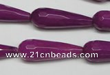 CCN2165 15.5 inches 10*30mm faceted teardrop candy jade beads