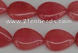 CCN2186 15.5 inches 15*20mm flat teardrop candy jade beads