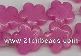 CCN2341 15.5 inches 20mm carved flower candy jade beads wholesale